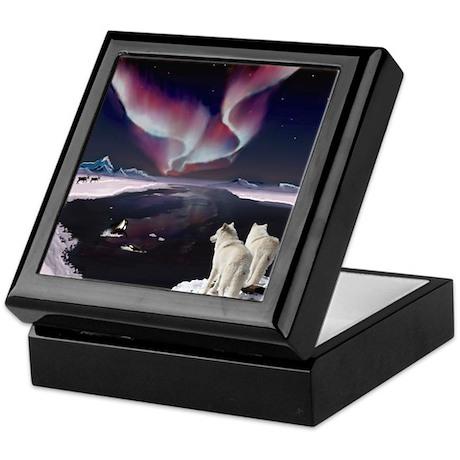 Wolves under the Aurora Keepsake Box