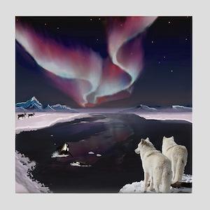 Wolves under the Aurora Tile Coaster