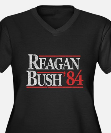 Reagan Bush '84 Women's Plus Size V-Neck Dark T-Sh
