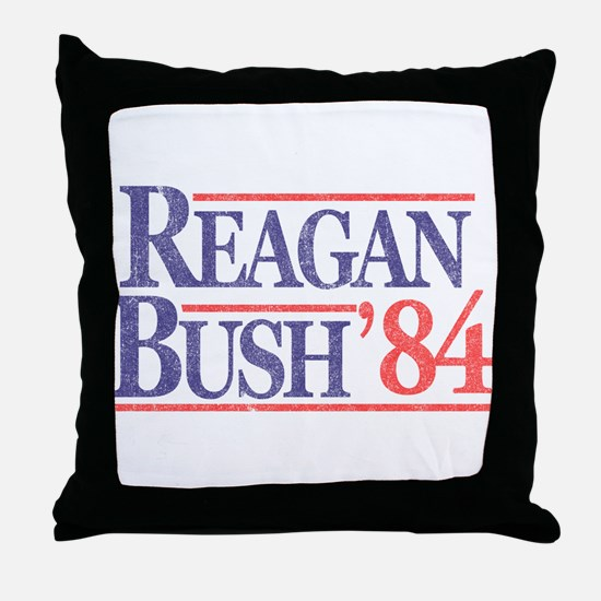Reagan Bush '84 Throw Pillow