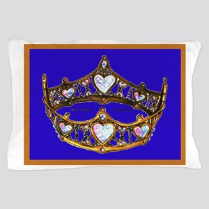 Queen of Hearts Yellow Gold Crown Tiara on Blue Vi