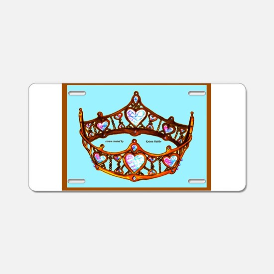 Queen of Hearts Gold Crown Tiara Aqua Blue backgro