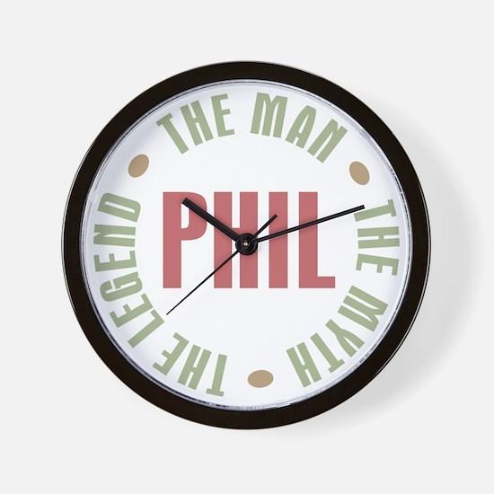 Phil the Man Myth Legend Wall Clock