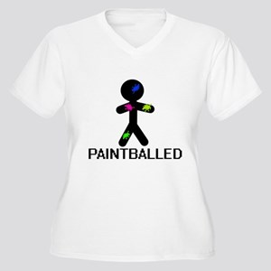 Paint Balled Women's Plus Size V-Neck T-Shirt