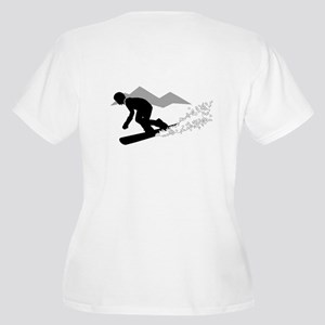 SNOWBOARDING Women's Plus Size V-Neck T-Shirt