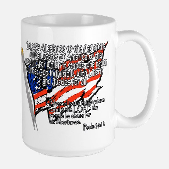 Pledge of Allegiance Psalm 33 Large Mug