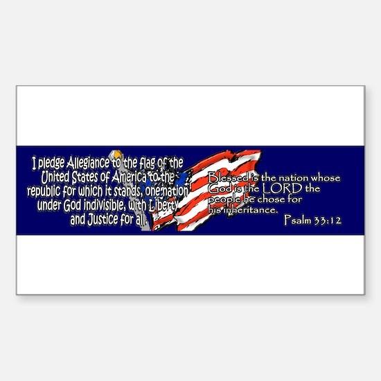 Pledge of Allegiance Psalm 33 Rectangle Sticker 1