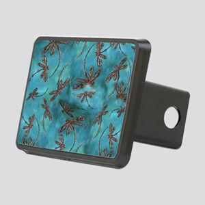 Dragonfly Flit Turquoise B Rectangular Hitch Cover