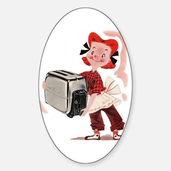 Toaster Girl Sticker (Oval)