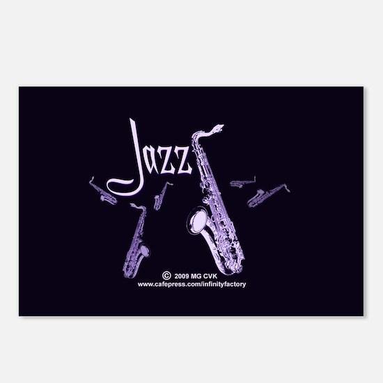 Jazz Saxophone Purple Postcards (Package of 8)