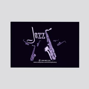 Jazz Saxophone Purple Rectangle Magnet