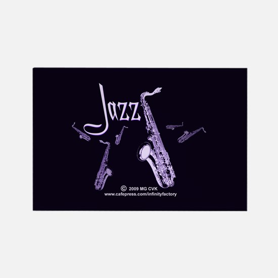 Jazz Saxophone Purple Rectangle Magnet