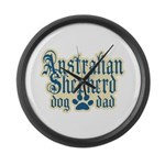 Australian Shepherd Dad Large Wall Clock