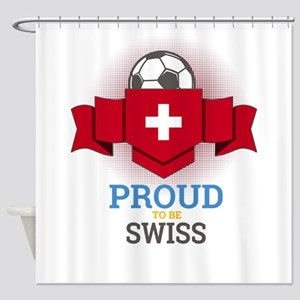 Football Swiss Switzerland Soccer T Shower Curtain