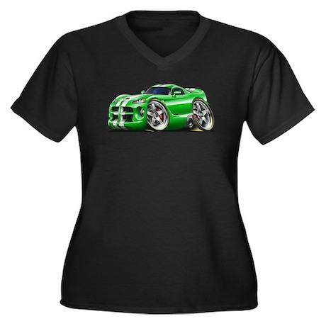Viper GTS Green Car Women's Plus Size V-Neck Dark