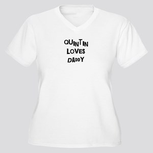 Quintin loves daddy Women's Plus Size V-Neck T-Shi