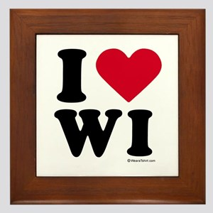 I Love Wisconsin ~ Framed Tile