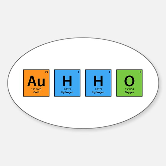 Au H2 O (Goldwater) Oval Decal