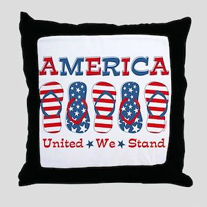 Flip Flop America Throw Pillow