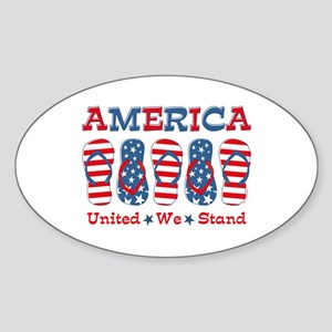 Flip Flop America Sticker (Oval)