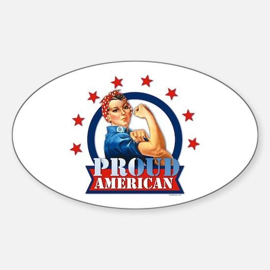 Rosie Riveter Proud American Oval Decal