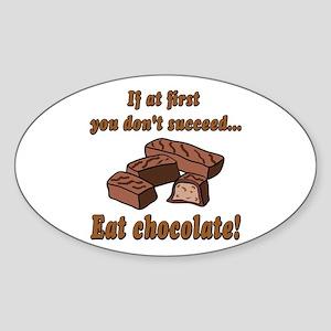 Eat Chocolate! Oval Sticker