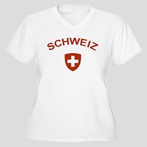 Switzerland Schweiz Women's Plus Size V-Neck T-Shi