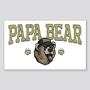 New Papa Bear Dad Rectangle Sticker