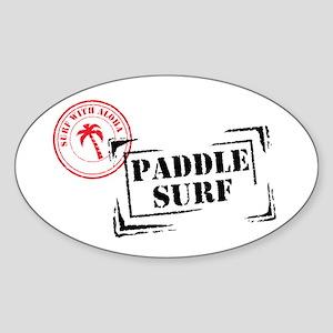 Surf with Aloha Stamp Oval Sticker