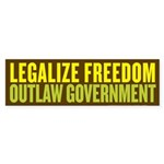 Legalize Freedom Outlaw Govt Sticker (Bumper 10 pk