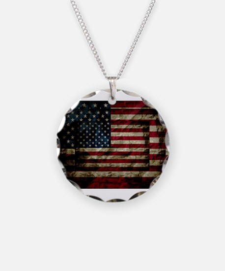 American Leather Flag Necklace