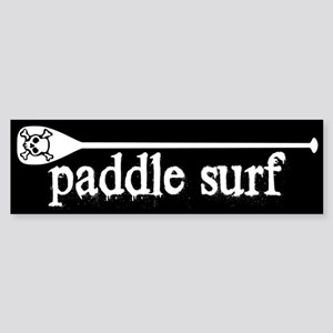 Paddle Surf Skull Black Bumper Sticker