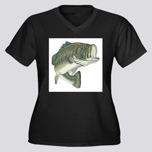 Large Mouth Bass (Front only) Women's Plus Size V-