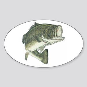 Large Mouth Bass Oval Sticker