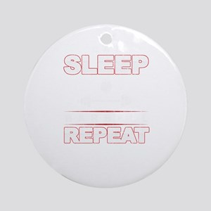 Eat Sleep Barbell Repeat Workout We Round Ornament