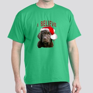 Chocolate Lab Christmas Puppy Dark T-Shirt