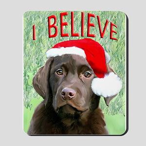 Chocolate Lab Christmas Puppy Mousepad