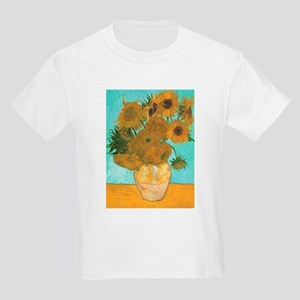 Van Gogh Vase with Sunflowers Kids Light T-Shirt