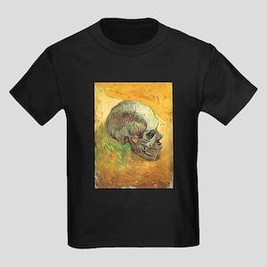 Van Gogh Skull Still Life Kids Dark T-Shirt