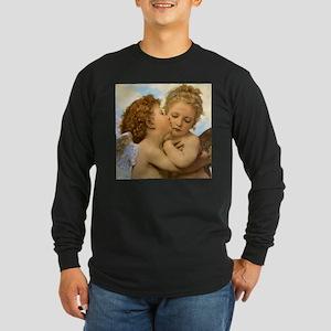 First Kiss by Bouguereau Long Sleeve Dark T-Shirt