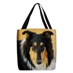 Collie Polyester Tote Bag