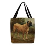 Vintage Mastiff Art Polyester Tote Bag