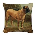 Vintage Mastiff Art Woven Throw Pillow