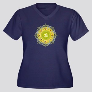 Om Mandala Women's Plus Size V-Neck Dark T-Shirt