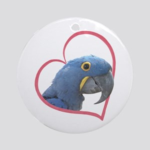 Hyacinth Macaw Heartline Ornament (Round)