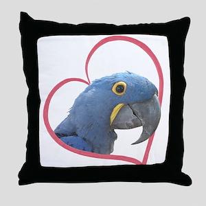 Hyacinth Macaw Heartline Throw Pillow