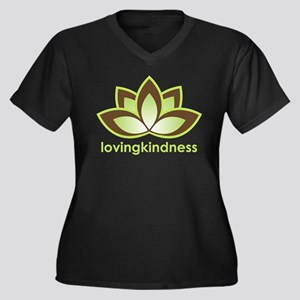Loving Kindness Women's Plus Size V-Neck Dark T-Sh