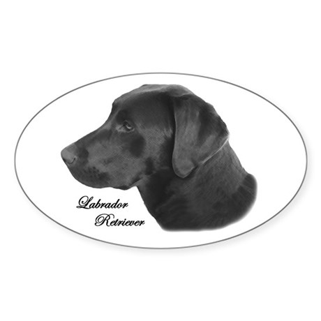 Labrador Retriever Silhouette Oval Sticker