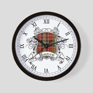 Hunter Tartan Shield Wall Clock