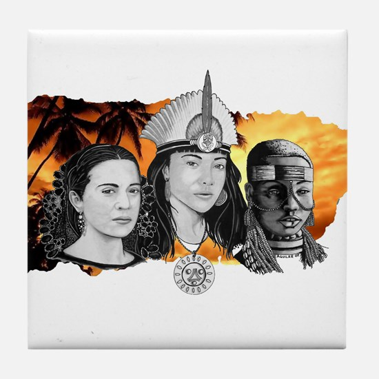 MI RAZA WOMEN WITH BORIKEN Tile Coaster